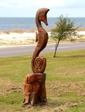 Hand Carved Wood Seahorse Statue Royalty Free Stock Images