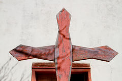 Hand Carved Wooden Cross Royalty Free Stock Photos