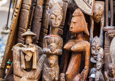 Hand carved wooden figurines. Being displayed on the streets of Fez, Morocco Stock Photography