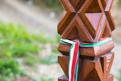 Hand carved wooden post in Memorial Park dedicated to heroes who died in Hungarian Revolution of 1848. Stock Photography