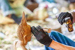 Hand of carver carving wood. Photo Hand of carver carving wood Royalty Free Stock Photo