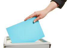 Hand casting vote at election Stock Photography