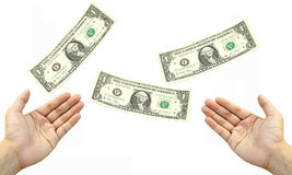 Hand catch flying dollar bills Stock Photos
