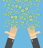 Hand catch money. Money rain. Falling money. Cash flow. Business Royalty Free Stock Photography