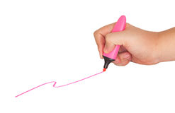 Hand catch pen drawn line. Hand catch pen drawn pink line Royalty Free Stock Photo