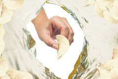 Hand catch snack in plastic Royalty Free Stock Photography