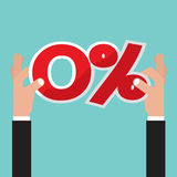Hand Catch A Zero Percent Interest Symbol Vector Royalty Free Stock Images