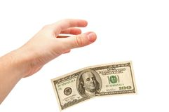 Hand catches 100 dollars Stock Image