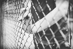 Hand catching mesh cage.. The prisoner want freedom. Dramatic Blurry Hands catching mesh cage. The prisoner want freedom.Man lack of Independence Royalty Free Stock Photo