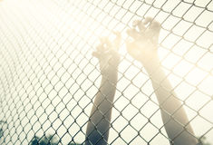 Hand catching mesh cage. The prisoner want freedom. Royalty Free Stock Image