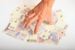 Hand catching money - crowns Stock Images