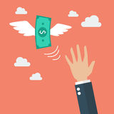 Hand catching a money fly Royalty Free Stock Photography