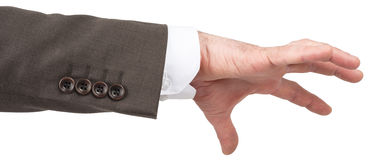 Hand of caucasian male to grab object Royalty Free Stock Photography