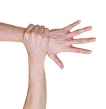 Hand caught and grabbed. Over wrist isolated on white background royalty free stock images