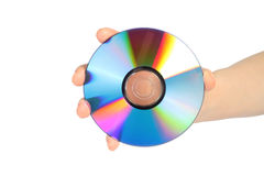 Hand with cd disc Stock Images