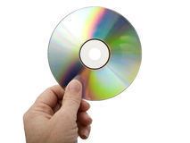 Hand and CD - Isolated Royalty Free Stock Photos