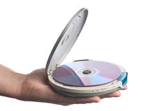 Hand with CD-player. CD-player with compact discson a human hand. White background. Studio shot Royalty Free Stock Photography