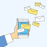Hand Cell Smart Phone Envelope Send Business Mail Royalty Free Stock Images