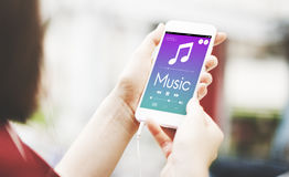 Hand Cellphones Music Lover Concept. Hand Cellphones Music Lover Listening Stock Photography