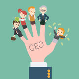 The hand with the CEO inscription Stock Images