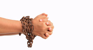 Hand with chain Stock Images