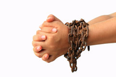 Hand with chain Royalty Free Stock Images