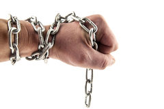 Hand with a chain Stock Images