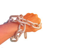 Hand chained with iron chain, isolated on white background. Stock Photography