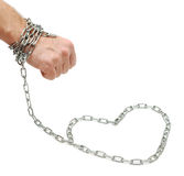 Hand chained to heart Royalty Free Stock Image