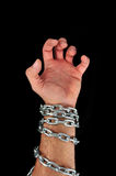 Hand with chains Royalty Free Stock Photography