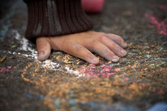 Hand and Chalk Stock Images
