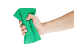 Hand  with Chamois cloth for cleaning Stock Images
