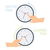 The hand change time on the clock to wintertime, summertime. Royalty Free Stock Image