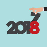 Hand Changing 2017 To 2018 Vector Stock Photos