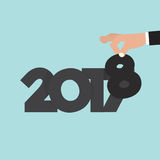 Hand Changing 2017 To 2018 Vector Stock Image