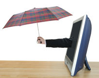 Hand with checkered umbrella leans out TV screen Royalty Free Stock Image