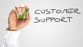 Hand Checking Box Next to Customer Support Stock Photos