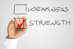 Hand Checking Box Next to the Word Strength Royalty Free Stock Images