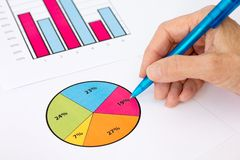 Hand Checking Pie Chart and Graph Royalty Free Stock Image