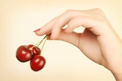Hand with cherry stock image