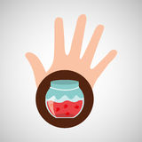 Hand and cherry jar jam. Vector illustration eps 10 Stock Images
