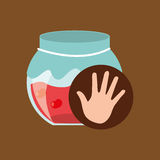 Hand and cherry jar jam. Vector illustration eps 10 Royalty Free Stock Images