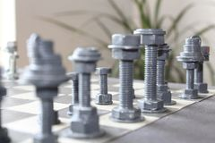 Hand Chess at home by me stock images