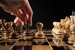 Hand chess move pawn Stock Images