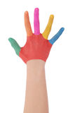 Hand of the child painted watercolor Stock Photography