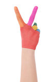 Hand of the child painted watercolor Royalty Free Stock Images