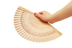 Hand with chinese fan isolated. Hand with chinese fan  isolated on white Stock Photos