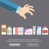 Hand choosing  medicine, health treatment Stock Image