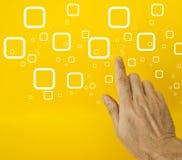 Hand choosing option. Hand choosing one check box option on yellow background Stock Image