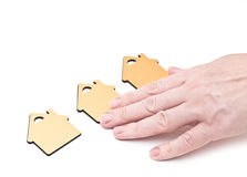 Hand choosing small home Stock Photos